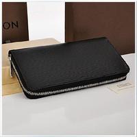 Drop shipping unisex fashion Water ripple leather wallet  multi card holder purse zipper wallet for men genuine leather wallet