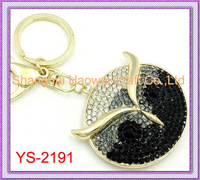 YS-2191 Newest!! For 2014 Diamond Owl Metal Keychain Of Fashion Jewelry Keyring keycharm For Promotional Gift