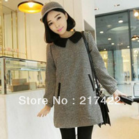 2013 autumn and winter one-piece dress sweet peter pan collar loose ladies houndstooth long-sleeve dress