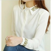 2014 New Promotions Hot Trendy Cozy Women Shirt Wild Slim Fashion Blouse Elegant Cute Long sleeve Chiffon Golden Embroidery