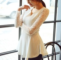 2013 New Promotions Hot Trendy Cozy Women Shirt Wild Slim Fashion Blouse Elegant Cute Long sleeve Chiffon Lace Patchwork