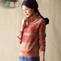 Inman 2013 100% cotton winter turtleneck pullover sweater female basic sweater