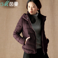 Inman 2013 winter polka dot with a hood thickening thermal slim down coat female