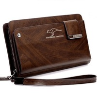 High Quality  Zipper Cowhide Men Clutch Bag Kangaroo Fashion Commercial Genuine Leather Man Handbag/Wallet Free Shipping NK 77