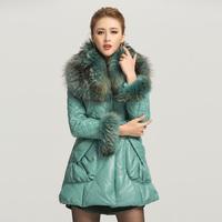 2012 ultralarge genuine leather clothing raccoon fur leather clothing fur female medium-long slim