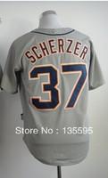 Hot Promotion!Cheap,#37 Max Scherzer,Gray Men's  Baseball Jerseys Sale Stitched baseball best - Free Shipping
