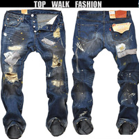 Free shipping 2013 men's brand of jeans destroyed washing beggar hole jeans  fashion street denim jeans