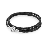 Long Leather Bracelet, 100% 925 Sterling Silver Clasp Lock Clip, Triple Starter Bracelet Suitable for Pandora Jewelry DIY 57cm