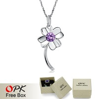 OPK FASHION JEWELRY Christmas Gift for Lady Classic Clover Necklace & Pendent inlaid Purple gemston lucky accessories, 097
