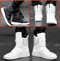 Korean style 2013 Fashion Men Rivet boots Cheaper High top Platform Casual Sneakers for men EU size 39-44  white black red blue