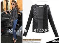 Women Jackets Soft Shell Argyle Long Sleeve Wool Leather European and American Fashion Coat Plus Size Black M~XXL Free Shipping