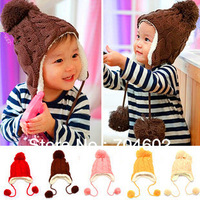 1Piece Free Shipping 5 Colors New Arrival Children Knitted Hats Warm Hat Winter Crochet Hat Baby Caps H0147
