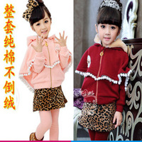 Child winter cloak winter children cloak leopard print culottes set 100% cotton fleece boy set