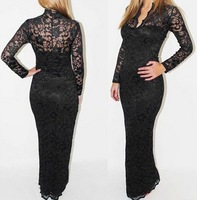 Autumn New V Neck Lace Hip Long Sleeve Long Dress Sexy Thin Waist Party Long Dresses Black White Color S,M,L,XL