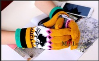 Retail Womens Cute Five Fingers Gloves With Fleece Lining Jacquard Reindeer Moose Pattern Cuff Folded Christmas Gloves For women