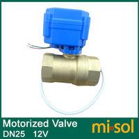 Free Shipping 1pcs motorized ball valve DN25 (reduce port), 2 way, 12V electrical valve