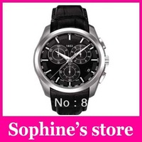 Free shipping hot sale T035.617.16.051.00 T035 Quartz Movement Men's Chronograph Watch leather Wristwatch + Original Box