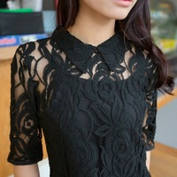 2013 lace one-piece dress female fashion twinset half sleeve turn-down collar slim plus size