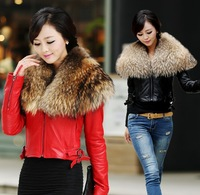 free shipping! Hight quality 2013 super large real raccoon fur collar ssheepskin genuine leather coat motorcycle leathe jacket