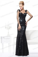 babyonlinedress 2014 Sexy Long Sleeve Black Mermaid prom dresses Evening Dress For Women Formal Gown with Open Back and Lace