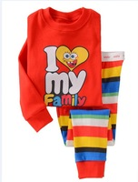 Hot sales!!!!! I love my family baby short sleeve pajamas, children's pajamas 100% cotton free shipping 6 sets / lot