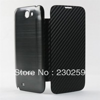 Flip cover leather front aluminum back cover case for Samsung Galaxy Note2 N7100 free shipping