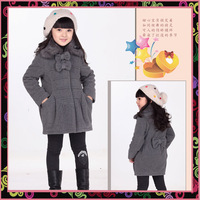 Fashion winter 2013 children's clothing thickening woolen fur collar female child cotton-padded overcoat outerwear