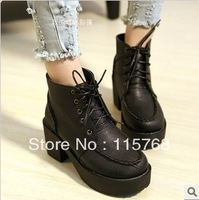 2013 women thick high-heeled boots Martin England Round slope with thick crust plus velvet lace shoes free shipping
