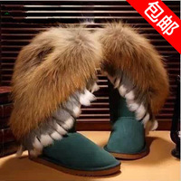 Large fox fur snow boots flat boots medium-leg female snow boots winter boots