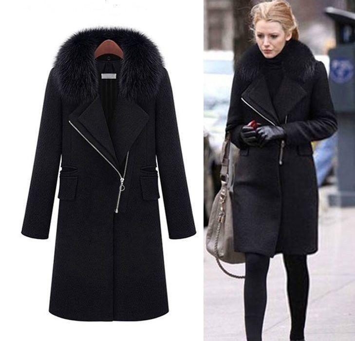 Пальто женское черное зима