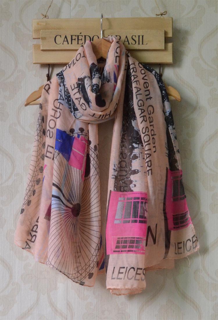 Scarfs fashion style designer 2013,Free shipping,Visocse hijab,British building print,British national flag print,England style(China (Mainland))