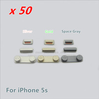 50pcs/lot Gold/Sliver/Space Gray for iPhone 5S Side Button Set Parts Power button Volume button and Mute button Free Shipping