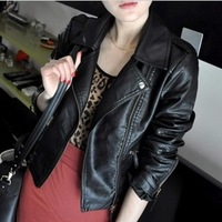 2014 autumn PU leather jacket outerwear motorcycle short design women's slim clothing