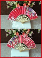 Free shipping 50pcs/lot assorted colors dragon shape design bamboo silk wedding fan gift favor & souvenirs