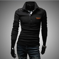 Freeshipping 2013new arrived Mens Long Sleeve T Shirt slim fit , Fashion 2 color The leather bag design 5501