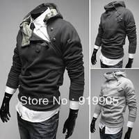 Free shipping New 2013 new rabbit fur collar Slim Korean men thick fleece hooded sweater coat