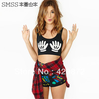 New 2013 Fashion Women's High street short design Sexy Palm Print FitnessTanks Crop tops Camisole Free Shipping
