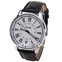 Sample Fashionable CaiQi 588-2 Unisex Watch 12 Roman Numbers Hour Marks with Round Dial Leather Watchband