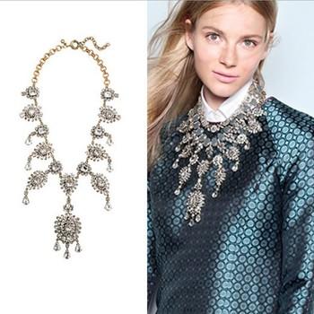 2014  Модный torques neckКружево J C Europe costume chunky choker crystal tassel ...