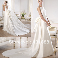 2014 Simple Satin Scoop Backless Mature Women Wedding Dresses With Detachable Train