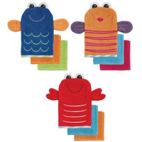 free shipping Luvable Friends 100% Cotton gloves for baby Wash Mitt +2 Washcloths Set