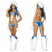 sexy christmas blue adult lingerie for women,christmas party sexy underwear,4pcs/set:hat+bra+bottom+leg warmer