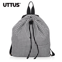 New  2013 NEW houndstooth backpack student school bag women's handbag casual bag Exclusive design printing backpack