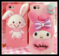 1pc retail! novelty korean 3D Cute Hello Kitty cat Rabbit bunny Melody girl Case For iPhone 5 4 4s Silicone Back Cover