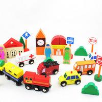 Wooden  urban transport car transport magnetic toys