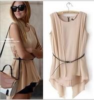 Free shipping European and American style fashion summer sleeveless chiffon stitching irregular folds tops