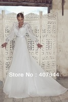Free shipping new arrival White Chiffon floor length Sweep train A-line V-neck Long Sleeves Open back /Backless Wedding Dresses