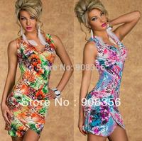 New Fashion Sexy Women Spaghetti Strap Vintage Flower Pattern Printed Casual Summer Dress Irregular Sleeveless Mini Dress C0372