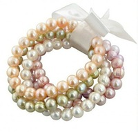 Free shipping 5 Pieces/lot 8mm Round Pearl Bracelet Dyed Colourful Very Beautiful Christmas Bracelet