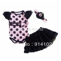 Free & Drop Shipping 2014 Baby Girls Summer set Sweet 3-piece suit: Dots Romper+tutu Skirt+Headbands baby clothing princess set